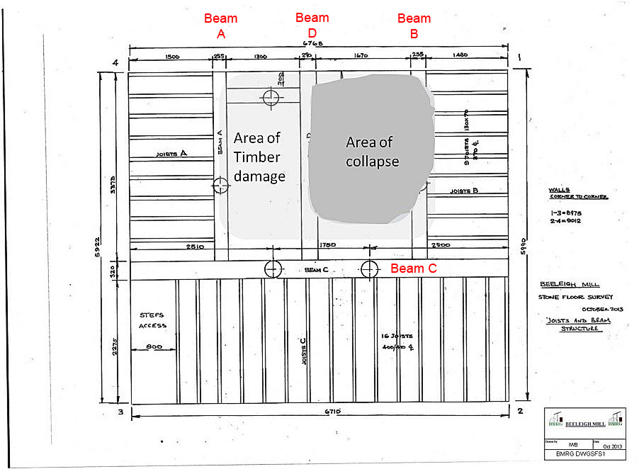 Stone floor joist and beam layout